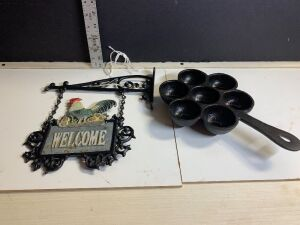 CAST IRON AEBLESKIVER PAN (PANCAKE BALLS) AND WELCOME SIGN