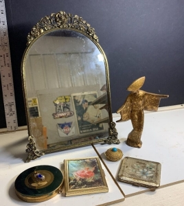 VANITY MIRROR WITH COMPACTS, PHOTO BOOK, AND MINIATURE GESHIA