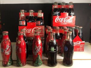 ASSORTED FULL COCA-COLA BOTTLES & 'HU-DEY' BENGALS 6-PACK