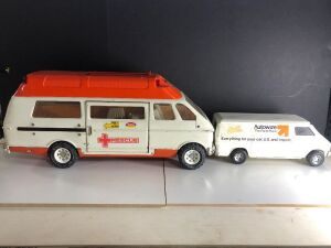 TONKA RESCUE AMBULANCE & 'ERTL' AUTOWIZE PARTS AND DELIVERY VAN