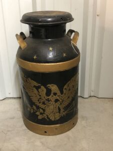 VINTAGE METAL DAIRY MILK CAN w/EAGLE DECAL AND LID