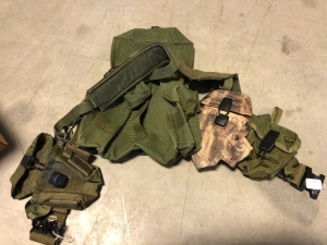 ASSORTED MILITARY HOLSTERS, AMMO POU, UTILITY BELTS, ETC.