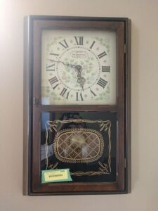 New England clock company reproduction wall clock with key and pendulum