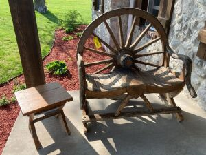 48-in wagon wheel backed primitive bench with bent branch handles and a small, weathered oak side table