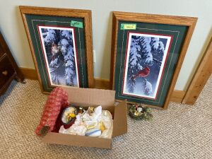 Two framed and matted 19 by 29-in cardinal prints and a surprise box of bird figurines