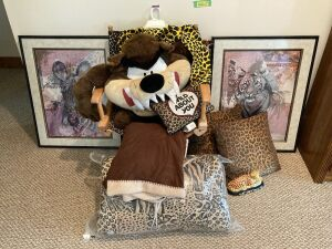 Tiger print pillows, comforter, directors chair, two tiger and zebra prints and a plush Tasmanian devil