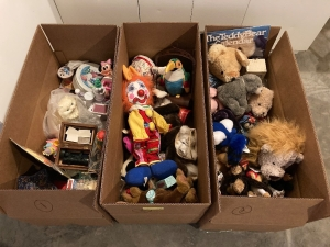 Three large boxes of toys including stuffed animals, Russian stacking dolls, cat figurine, Minnie Mouse figurine and A LOT more