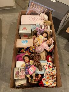 Large box full of dolls and accessories including some NIB dolls, My Pals bean bag kids, dolls and more