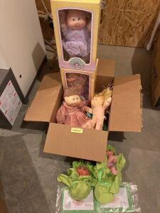 Box with half a dozen Cabbage Patch related dolls - some still have certificates and original boxes!