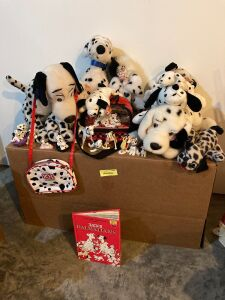 101 Dalmatians book, variety of plush toys and small plastic figurines