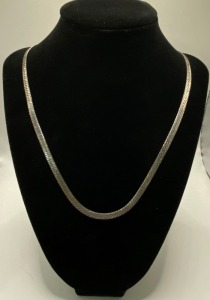 Updated information:  Fashion Jewelry ,20 INCH MILOR ITALY, SAYS 925 STERLING , WIDE FLAT CHAIN NECKLACE, 16.4 G TOTAL WEIGHT.  TESTED AND IS NOT PURE  .925