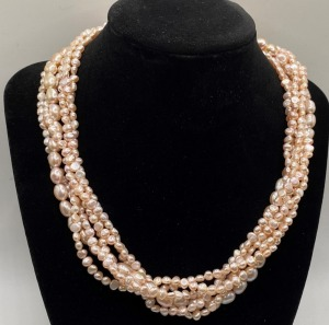 BEAUTIFUL SIX STRAND PINK PEARL NECKLACE WITH .925 STERLING STAMPED CLASP