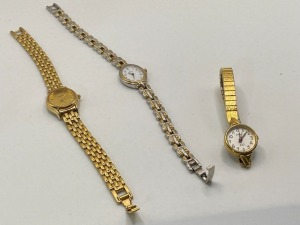 SET OF THREE LADIES WRIST WATCHES, WORKING CONDITION UNKNOWN, INCLUDES ONE PULSAR, ONE GALAXIE, AND ONE BULOVA.
