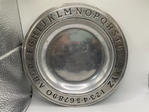 WILTON PEWTER ABC AND NUMBER PLATE/BOWL.