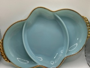 VINTAGE BLUE FIREKING DIVIDED DISH WITH GOLD TRIM