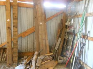 misc. lumber, shovels, parts rack