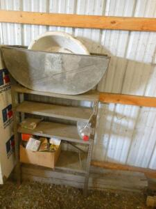 metal shelving unit, ceramic wash tub, metal tub