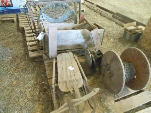 vintage sled, chain, sanding wheel; *large barn fan NOT included*