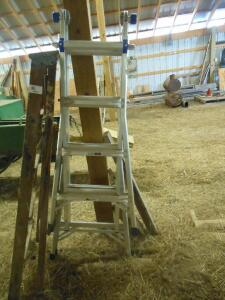 Werner 17' extension ladder, wood 5' step ladder