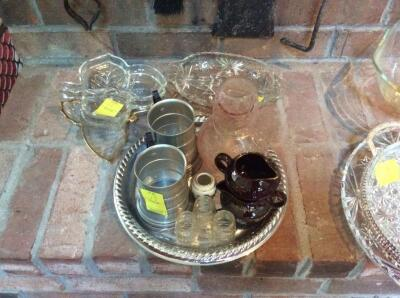 Glass Water Pitcher, two mugs, condiment dishes, and 5 glass serving trays