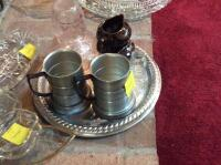 Glass Water Pitcher, two mugs, condiment dishes, and 5 glass serving trays - 3