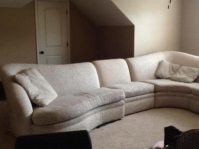 Century patterned sectional with throw pillows