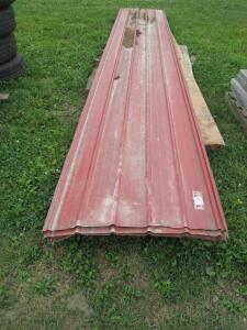 "(5) sheets of red steel siding, 32.5""W x 16ft L ea, (2) 10.5ft L 2x8ft boards"