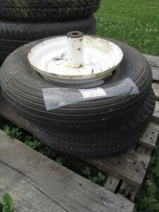 (1) Goodyear 4.804.00-8 used tire on 4-hole rim, (1)Cheng shino 4.804.00-8 tire on utility rim