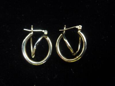 "Pair of 14K gold-plated earrings, .50""W"