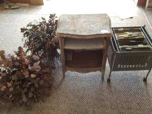 Antique Wood Side Table, Filing Cart, Decorative Plant