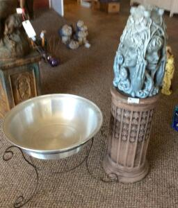 Decorative Statue with Base and Metal Basin