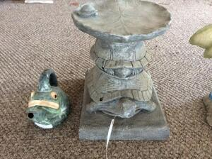 Turtle Stone Side Table and Porcelain Frog Watering Can
