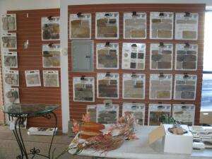 Wall of landscape stone samples