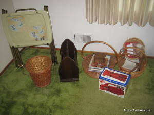 Group with baskets, TV tray set, pine magazine rack, Dirt Devil vac., etc.
