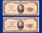 2-1929 $20 Federal Reserve Notes: New York, NY & Richmond, Va., both in circ./used condition, (bid is for both)