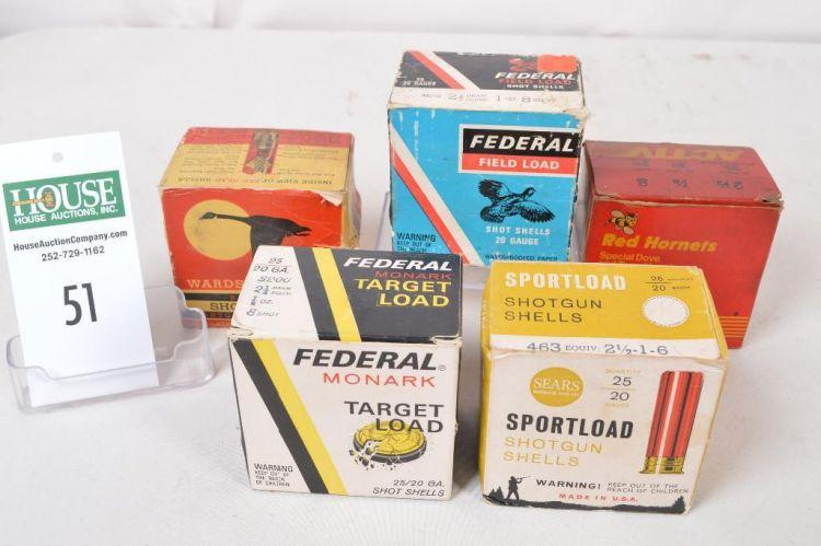 5) boxes of assorted 20 ga  shot shells - 4 boxes are paper