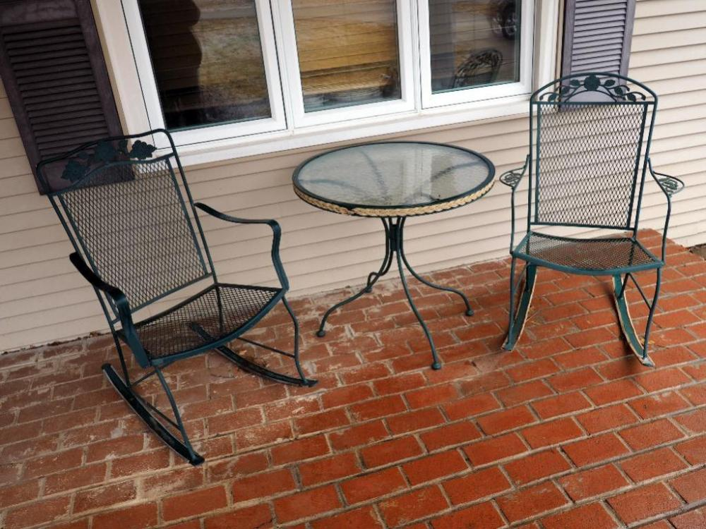 Lot 230 Of 341 Rocking Chair And Glass Top Bistro Table Set Is 28 H X 30 Dia