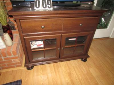 Solid wood entertainment cabinet 36H, 44W, 19.5D 2 drawers, 2 glass doors w/shelf (ONLY CABINET)
