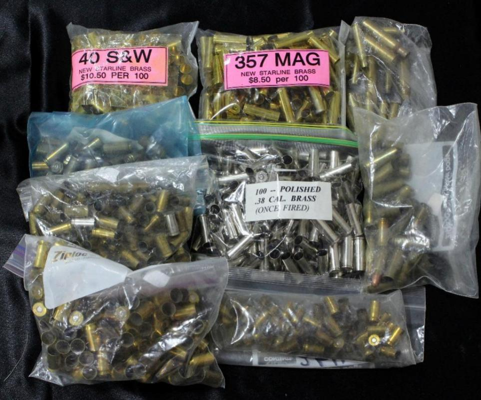 Assorted Reloading Brass, 357 MAG (100), 40 S&W (100),  38 Cal (100
