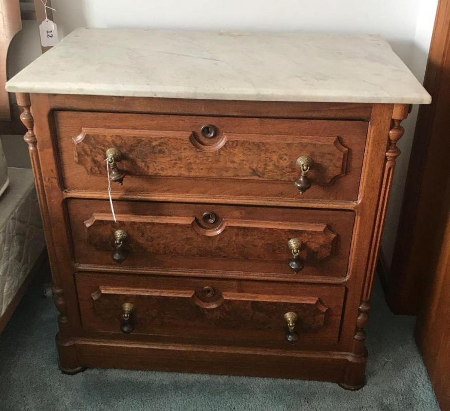Lot 11 Of 192 Antique Marble Top 3 Drawer Walnut Bachelor Chest