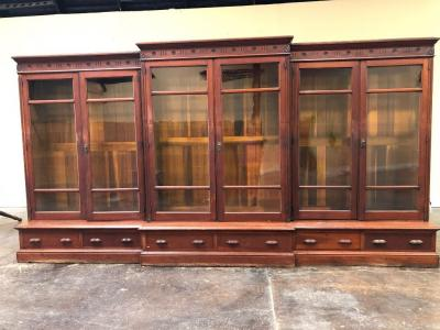 BEAUTIFUL, Large Antique Glass Front Book/Display Shelf with wood shelves!!!