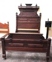 "GORGEOUS Mahogany Wood Bed Frame Another ""Must See in Person"" to appreciate!!"
