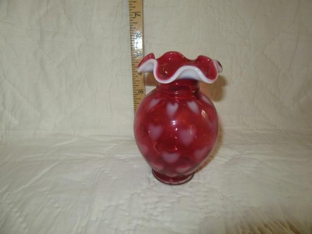 Fenton Cranberry Heart Design Vase Lr