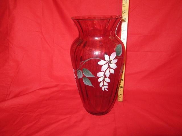 Large Fenton Cranberry Vase Lr