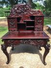 Exquisite Antique Oriental Themed Hand Carved Desk - MUST SEE IN PERSON!!