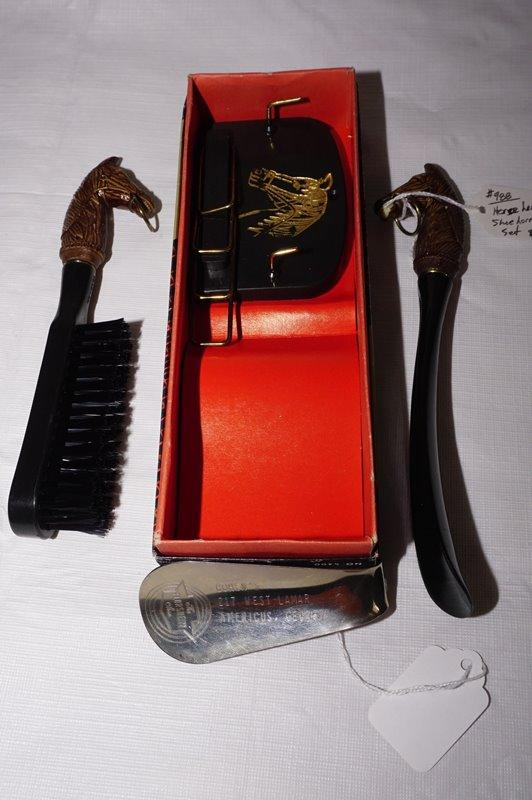 c32461248397 Lot 1727 of 1145: VINTAGE HORSE MOTIF TIE RACK / WALL PLAQUE, BRUSH, AND  SHOE HORN KIT WITH ORIGINAL BOX AND VINTAGE ADVERTISING SHOEHORN, ...
