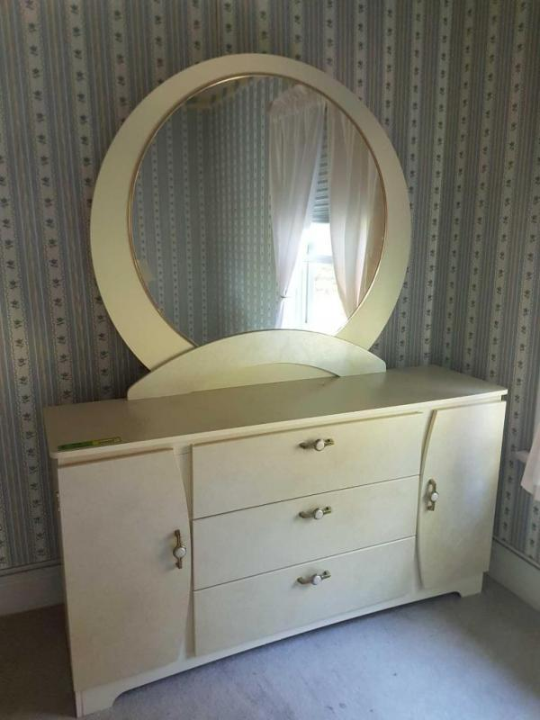 Lot 7294 Of 60 Long Dresser With Large Circle Mirror Measures X 16 32 47 33 Includes Bedside Table 23 And Small