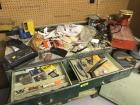 Various tool and workshop items on and in workbench