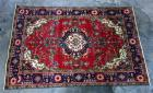 "1930's Tabatabai Tabriz Shah Authentic 100% Hand Knotted Persian Rug, 100% Wool, Made with Vegetable Dyes, 9'7"" x 6'6"", Some Wear Due to Age"
